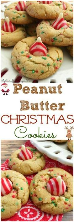 It's that time of year where we can bake cookies non-stop and get away with it! Love these Peanut Butter Christmas Cookies! Christmas Deserts, Holiday Desserts, Holiday Baking, Holiday Treats, Holiday Recipes, Christmas Recipes, Christmas Foods, Christmas Candy, Christmas Sprinkles