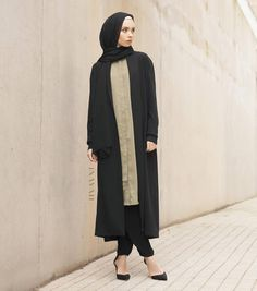 INAYAH | Long Olive Tailored Shirt #Dress + Black Thick knit Maxi #Cardigan + Black Maxi Georgette #Hijab