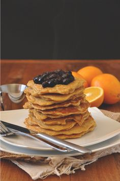Whole Grain Griddle Cakes with Blueberry Orange Compote