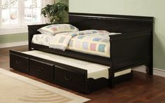 Amazon.com - Coaster Traditional Style Black Finish Daybed with Trundle - Day Beds