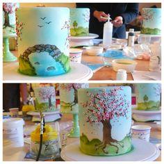 Airbrush cake ( end result from Kim Wiltjer workshop) Cupcakes, Cupcake Icing, Cupcake Cakes, Fondant Cakes, Beautiful Cakes, Amazing Cakes, Airbrush Cake, Dummy Cake, Spring Cake