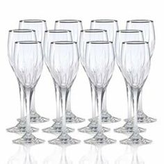Mikasa Arctic Lights Platinum Crystal Wine Glasses, Set of 12 by Mikasa. $349.99. The elegance of the platinum rim only enhances the intricate cuts and exuberant curves of this luxurious stem ... ready to elevate your tablesetting to new heights as it captivates your guests with its charm. This crystal pattern coordinates perfectly with formal dinnerware and flatware. Dishwasher safe - top rack. Set of 12 crystal wine glasses, each holds 6 ounces.