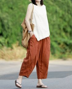 Womens Linen pants, linen harem pants, Linen turnip pants, Summer Nine points pants