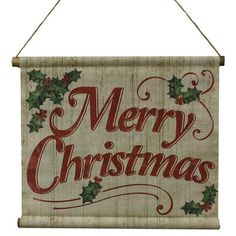 """Merry+Christmas+Mini+Banner+Size:+11""""+Width+Color:+Natural,+Red,+Green+(faded+or+washed+look)+Material:+Cotton,+Wood+"""