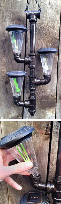 #DIY Solar Powered Outdoor Pendant Lighting Made Out of Iron Pipes #garden #inspiration