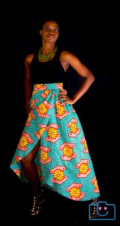 High Waisted Asymetrical African Print MaxiWrap Skirt by Zoharous, $25.00