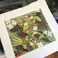 """The Carolina Parakeet was the only native parrot species in the Eastern United States. It lived in large flocks and was a raucous bird. People didn't always like them on their properties because they would eat up all the crops in sight. Not unlike another bird I make a lot of woodcuts about, the starling.The last known bird died in the Cincinnati zoo in 1918. A pair of parakeets lived there for 35 years.image size 10"""" x 11""""edition size 15"""