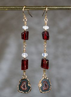 Black and red agate drusy earrings with garnet by LKModern on Etsy
