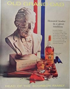 Old Grand Dad Whiskey 60 s Vintage print ad  Color Illustration  honored  1961 Post Magazine Art