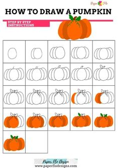 How to Draw a Pumpkin - Paper Flo Designs - Real Time - Diet, Exercise, Fitness, Finance You for Healthy articles ideas Easy Pumpkin Carving, Pumpkin Carving Patterns, Cute Pumpkin, Pumpkin Outline, Pumpkin Drawing, Pumpkin Template, Coloring Sheets For Kids, Online Drawing, Drawing For Beginners