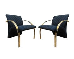 Rare Brass Lounge Chairs by Directional - A Pair on Chairish.com