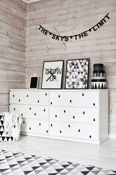 Resultado de imagem para decor do quarto nas cores rose gold preto e branco