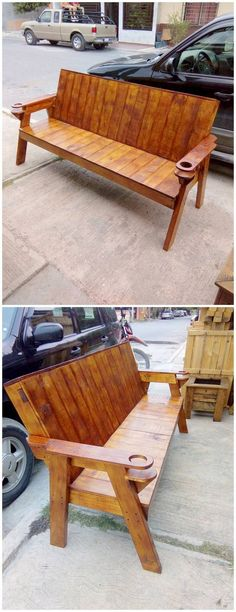 Check out this outstanding wood pallet bench piece that will definitely be the main reason to make your heartbeat faster. Chocolate brown shaded wood pallet bench is looking a masterpiece. Its back rest side is little bit bend to add an artistic look in its designing. Did you find it attractive?