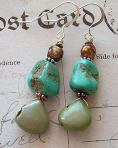 Nugget Creek Charms - No2 / Turquoise, Chrysoprase, FWPearl, Sterling