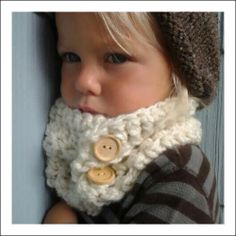 Kids crotchet cowl scarf.  This is why I need to learn to crotchet!  When I have grandkids, I want to be able to make these adorable pieces for them.