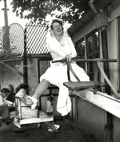 """mimbeau:  The bride at """"Chèz Gégène"""" (guinguette) Paris 1946 Robert Doisneau"""