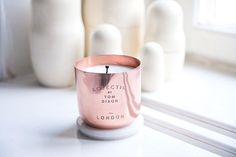 Tom Dixon copper scent candles, First of all this is an awesome candle. Second, these would be fantastic with centerpieces. Find mismatched copper cups and fill with pillar candles. Tom Dixon, Eclectic Candles, Rose Gold Candle, Candle Wax, Pillar Candles, Best Candles, Home And Deco, Scandinavian Style, Cooking Timer