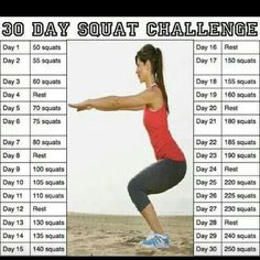 Who's doing the squat challenge? Print this out and put it on your refrigerator or calendar. Take on the squat challenge and do them every night before bed or after you wake up.