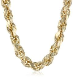 d9e9536503b2 Men s Yellow Gold Hollow D-Cut Rope Chain Necklace