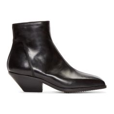 a16e378dcb9 Rick Owens - Black Leather Zip Berger Boots Ankle Highs