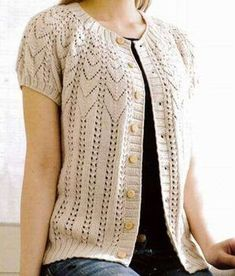 the lady baby pattern collar vests - Knitting Crochet Ladies Cardigan Knitting Patterns, Lace Knitting Patterns, Gilet Crochet, Knit Crochet, Summer Knitting, Baby Knitting, Diy Crafts Knitting, Lace Shrug, Baby Models