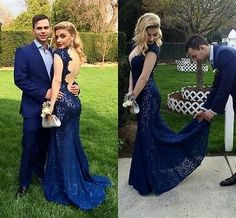 Buy Backless Lace Sexy Mermaid Prom Dress-Floor Length V-Neck Evening Dress Long Prom Dresses under US$ 176.99 only in SimpleDress.