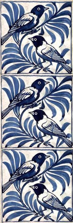 Weaver birds tile by William de Morgan. Designed prior to 1888 for Merton Abbey