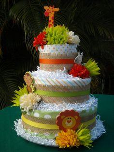 Jungle Theme Diaper Cake on Etsy, $95.00