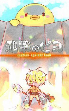 Utapri, Uta no prince-sama. Natsuki Shinomiya y Piyo-chan aaaaand... ATTACK ON TITAN!!! ATTACK ON PIYO
