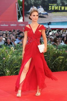 Pin for Later: Natalie Portman's Prima Ballerina Red Carpet Transformation Natalie Portman in a Red Rodarte Gown at the 2010 Black Swan Venice Premiere A fiery Rodarte for the Black Swan premiere at the Venice Film Festival.