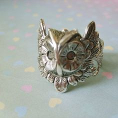 Owl Steampunk Ring in Silver Filigree by EnchantedLockets on Etsy