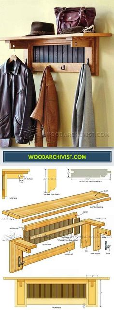 Coat Rack Plans - Furniture Plans and Projects - Woodwork, Woodworking, Woodworking Tips, Woodworking Techniques Furniture Making, Wood Furniture, Woodsmith Plans, Diy Rack, Woodworking Furniture Plans, Woodworking Ideas, Wood Home Decor, Wood Plans, Woodworking Techniques