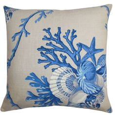 This throw pillow is a refreshing statement piece to add in your home. This accent pillow features a striking aquatic pattern in shades of blue and set against a natural background.