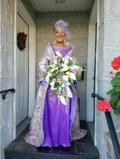 86 years young Mrs. Millie Morrison on her wedding day.  She designed her outfit too!  So lovely!
