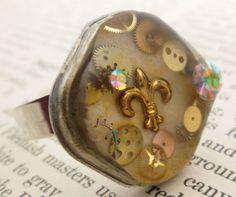 Steampunk Fleurdelis Resin Ring  Watch Case Back by wiggelhevin, $25.00