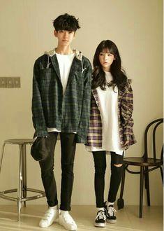 Official Korean Fashion : Korean Couple Fashion - Fashion Show Korean Couple Fashion, Korean Fashion Trends, Korean Street Fashion, Korea Fashion, Kpop Fashion, Asian Fashion, Teen Fashion, Fashion Outfits, Fashion Ideas