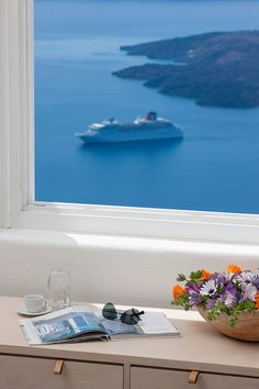 Window in Santorini. Greece