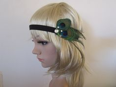 Peacock feather flapper style headband can  DIY this for sure
