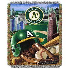 48 X 60 MLB Athletics Throw Blanket Baseball Themed Bedding Sports Patterned Team Logo Fan Merchandise Athletic Team Spirit Fan Ballpark Woven Tapestry Warm Soft Green Grey Polyester
