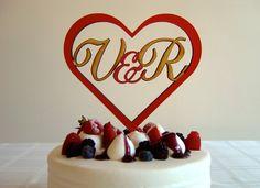 Your Initials In A Heart  Custom Classic Wedding by CaroandCoco, $45.00 #wedding #cake #caketopper #custom #heart #initials #caroandcoco