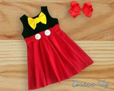 Adorable mouse dress and bow set this dress comes in sizes and need this item sooner add the rush order item in my shop and your order will be shipped in half the time or less size chart length 17 7 in width 9 9 in length 18 8 in wi Frocks For Girls, Toddler Girl Dresses, Little Girl Dresses, Girls Dresses, Mickey Mouse Dress, Minnie Dress, Minnie Mouse, Baby Frocks Designs, Kids Frocks Design