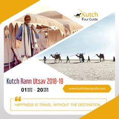 RANN UTSAV 2018 - 19 !!! BOOK NOW !!! Be our guest to have most indelible experience of Gujarat Rann Utsav festival. Don't Miss chance to book this package early and get best Discount possible!  Contact today:  Call on: +917228861116  Website: www.kutchtourguide.com
