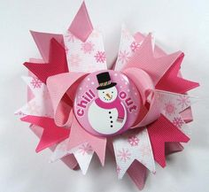 Boutique Pink White Christmas Hair Bow Clip by prettybowtique, $6.50