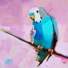 Blue Parakeet no. 2 bird art print by Angela Moulton 6 x 6 inches  prattcreekart