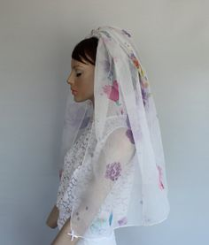 Floral Organza Blusher Veil Waist Length by MammaMiaBridal on Etsy, $75.00