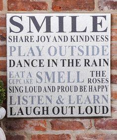 Love this 'Smile' Canvas on #zulily! #zulilyfinds