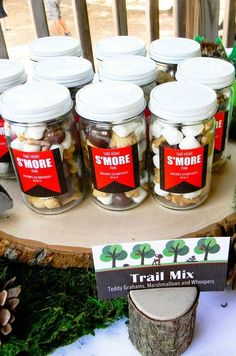 S'more trail mix favors at a Woodland Birthday Party!  See more party planning ideas at CatchMyParty.com!