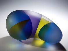 "Designers Party : Segmentation Series : Ji Yong Leeurple & Green Embryo Segmentation hot sculptured, cut, assembled glass 5.5"" x 11.5"" x 8"""