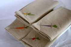 Cloth Napkins Root Vegetables on Natural Linen and by TheHighFiber