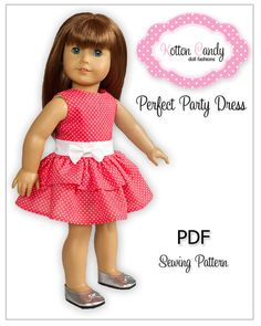 """PDF Sewing Pattern for 18"""" American Girl Doll Clothes - Perfect Party Dress ePattern"""
